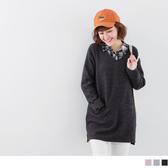 《AB5439-》V領雙口袋開衩羊毛長版上衣 OB嚴選