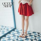 Queen Shop【04130036】腰鬆緊抽繩設計棉麻短褲 三色售*預購*