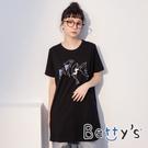 betty's貝蒂思 長版鯨魚繡線印花T-shirt(黑色)