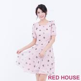 【RED HOUSE 蕾赫斯】五分袖貴賓狗雪紡洋裝(共2色)-單一特價