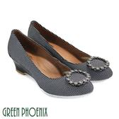 U28-2A903 女款楔型包鞋   國際精品圓形施華洛世奇燙鑽水玉點點楔型包鞋【GREEN PHOENIX】