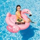 小紅鶴水上坐騎 成年人火烈鳥兒童充氣玩具浮排浮床加厚游泳圈【創世紀生活館】
