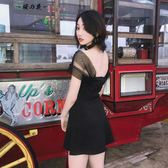 一字肩連身裙無袖顯瘦a字小黑裙