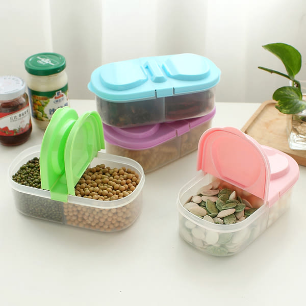 ●MY COLOR●雙格雙蓋儲物盒 五穀 雜糧 密封 食品 零食 蔬果 密封 收納 保鮮 多功能【S14-1】