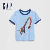 Gap 男幼童 創意印花圓領短袖T恤 577613-藍灰