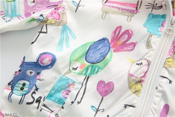 女Baby女童防風外套彩繪小鳥連帽薄外套出口日本品質現貨