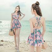 梨卡 - 大罩杯可穿優雅甜美[顯瘦遮到腿+集中鋼圈]加大尺碼胸墊印花四角裙式連身泳裝CR446
