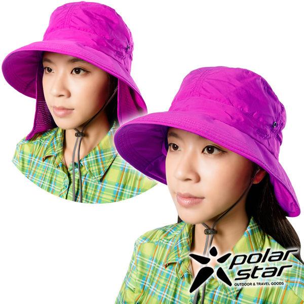 PolarStar 抗UV遮頸帽『紅紫』P16505 抗UV帽│登山帽│工作帽│遮陽帽│釣魚帽│防曬帽│圓盤帽