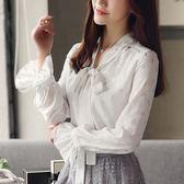 2018新款女裝長袖雪紡衫襯衫氣質白色上衣服春百搭打底衫