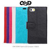 QinD SONY Xperia Z5 Compact E5823 水晶帶扣插卡皮套 側翻皮套 磁吸 可站立 皮革 保護套 手機套 Z5C