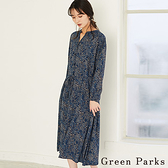 「Autumn」佩斯利花紋連身收腰洋裝 - Green Parks
