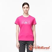 【wildland 荒野】女 彈性輕量印花排汗短袖圓領衫『桃紅』0A91633 運動 露營 登山 吸濕 排汗 快乾