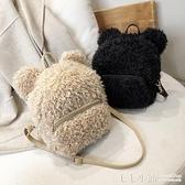 後背包~可愛羊羔毛毛包包後背包女2021春季新款時尚百搭毛絨包仙女小背包