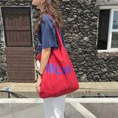 帆布袋 字母 帆布袋 撞色 單肩包 手提袋 環保購物袋--手提/單肩【SPE92】 BOBI  07/19