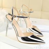 歐美風簡約淺口尖頭鏡面漆皮性感潮宴會一字帶女涼鞋細跟超高跟鞋