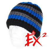 EX2 中性 條紋針織帽-藍灰 352359 針織帽 造型帽 毛帽 毛線帽 帽子 禦寒 防寒 保暖