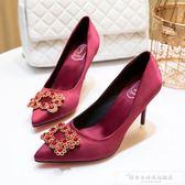婚紗高跟鞋2018新款RV女鞋水鑚方扣單鞋綢緞禮服伴娘新娘紅色婚鞋『韓女王』