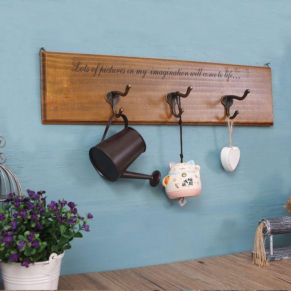 掛鉤 衣帽包包收納掛勾架 實木紋英文字簡約款金屬雙層3勾掛衣架 牆面復古鄉村裝飾-米鹿家居