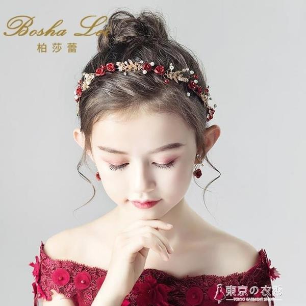 兒童頭飾紅色頭花花環發帶女童發飾公主女孩發箍主持鋼琴演出飾品【東京衣秀】