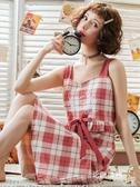 居家服 吊帶睡裙女士夏季棉質性感薄款睡衣帶胸墊連衣裙子夏天孕婦家居服