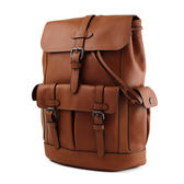 美國正品 COACH 男款 質感真皮翻蓋書包釦束口後背包-棕色【現貨】