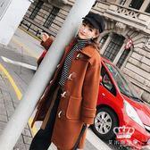 毛呢外套 秋冬牛角扣新款韓版學院風復古休閒中長款女毛呢大衣