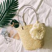 日繫度假風網紅花朵草編包手拎包麥草麻花編織沙灘包女包 黛尼時尚精品