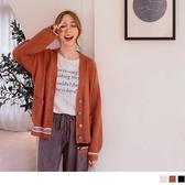 《FA2179》坑條交織彩色排釦包芯紗針織毛衣外套 OrangeBear