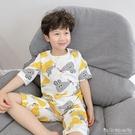 兒童睡衣男童睡褲竹節棉夏季中大童純棉短袖上衣套裝寶寶家居服薄晴天時尚