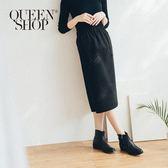 Queen Shop【03030227】雙口袋造型厚毛料中裙 兩色售*現+預*