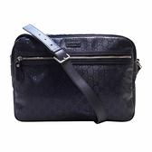 GUCCI 古馳 藍色GG壓紋帆布肩背包 GG Imprime Messenger Bag 211107 【BRAND OFF】