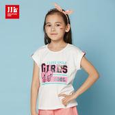 JJLKIDS 女童 個性女孩塗鴉造型短袖上衣 T恤(白色)