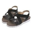 交叉寬帶設計巧妙修飾腳背 輕量材質打造輕盈舒適感 PU鞋底防滑耐磨好行走