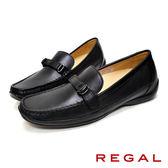 【REGAL】皮帶扣飾皮革休閒女鞋 黑色(P530-BL)