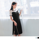 蕾絲雕花微透肌膚,增添整體優雅甜美風格。 拼接純色裙襬讓整體質感更提升
