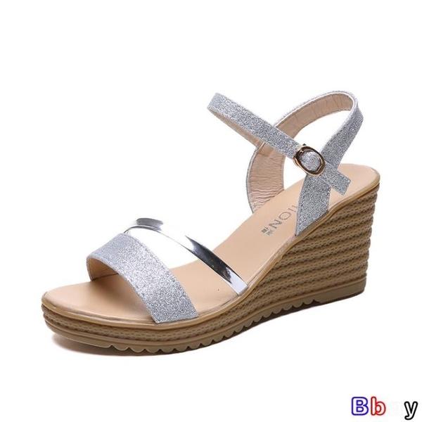 貝貝居 楔型涼鞋 涼鞋 舒適 坡跟 厚底 鬆糕鞋 軟底鞋