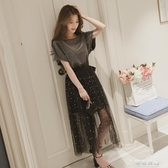 女裝小香風氣質chic網紗長裙t恤兩件套裝超仙顯瘦洋裝 流行花園