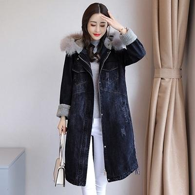 牛仔外套-連帽冬季保暖羔羊毛中長版女丹寧夾克73tj1[時尚巴黎]