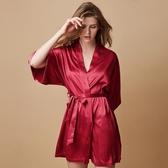 2019新款好奇小姐酒紅色絲質睡衣睡袍女夏浴袍晨袍浴衣日式和風薄款冰絲質 ??