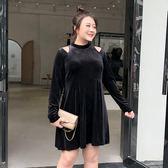 大碼女裝胖mm露肩寬松裙子2019新款春裝遮肚顯瘦減齡連身裙