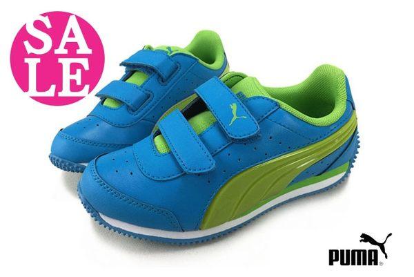 PUMA小童鞋 閃燈鞋 酷炫有型 防潑水 輕量魔鬼氈運動鞋 零碼出清 I9552#藍綠◆OSOME奧森鞋業