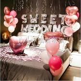 七夕情人節  創意婚房主題浪漫裝飾氣球布置用品錶白告白求婚酒店婚床背景墻  『歐韓流行館』