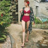 泳衣女高腰遮肚臍顯瘦分體比基尼三件套性感聚攏紅韓版小香風【萬聖夜來臨】