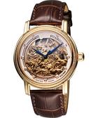 Ogival 愛其華 馬年限量真鑽鏤空機械腕錶-玫塊金x咖啡 358.88AGR皮