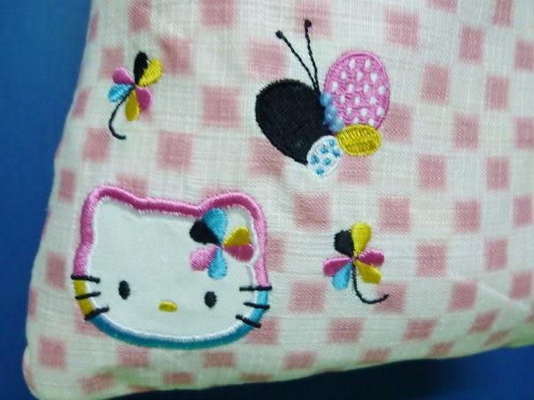 【震撼精品百貨】Hello Kitty 凱蒂貓~和風手提袋『粉白格蝴蝶花』