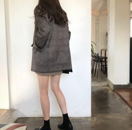 西裝外套 韓版中大尺碼開衫上衣XL5XL歐美大碼復古格紋韓版小西裝外套 韓版MD043160快時尚