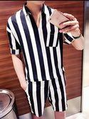 夏季男士五分袖襯衫條紋套裝韓版修身潮流V領中袖襯衣一身兩件套