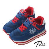【韓國T2R】厚底盾牌休閒內增高鞋 ↑8cm 藍(5600-0145)