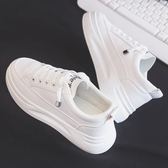 小白鞋 冬季新款厚底網紅小白鞋女帆布潮鞋韓版百搭學生休閒板鞋白鞋