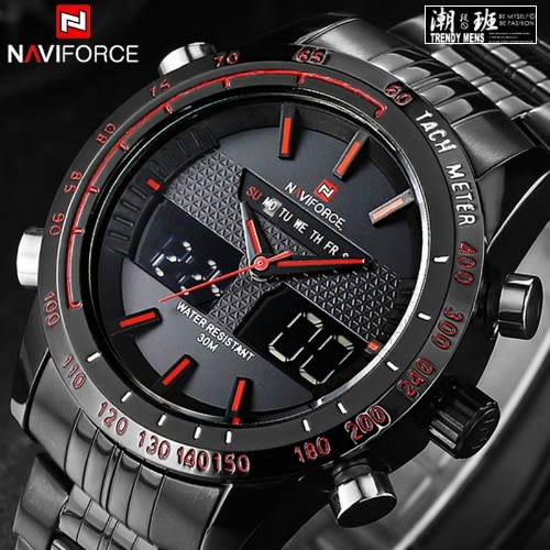 『潮段班』【SB00A121】免運 Naviforce 9024 領翔 雙顯示 歐洲海軍戰術鋼帶手錶